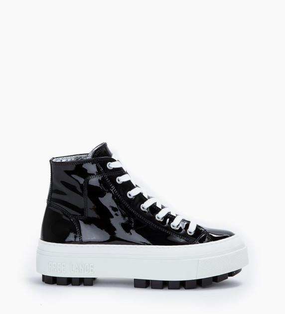 Sneaker haute NAKANO - Cuir vernis - Noir