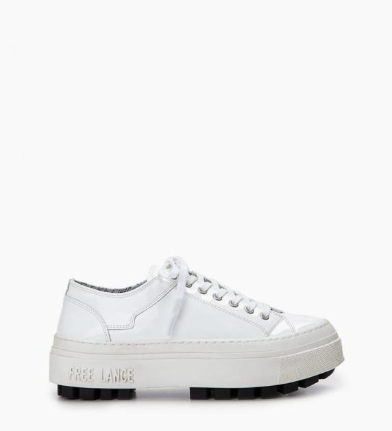 Sneaker basse NAKANO - Cuir vernis - Blanc