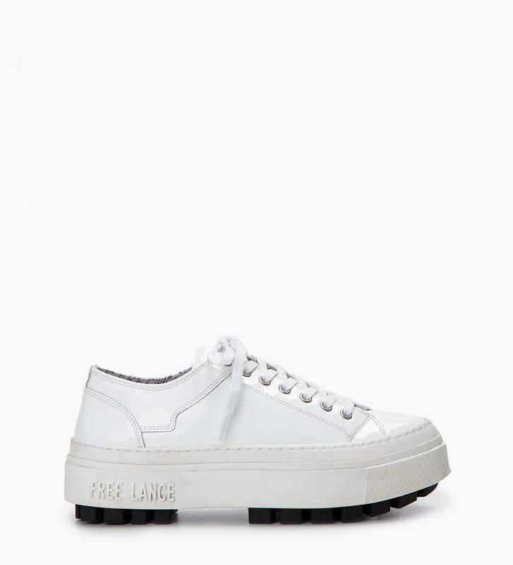 FREE LANCE Sneaker basse NAKANO - Cuir vernis - Blanc
