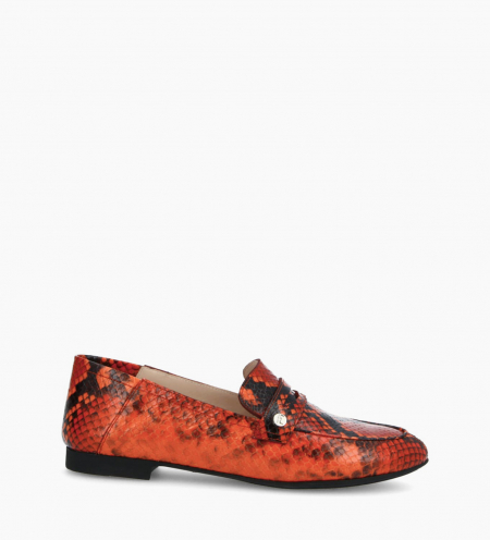 Mocassin NOÏS - Cuir imprimé serpent - Orange