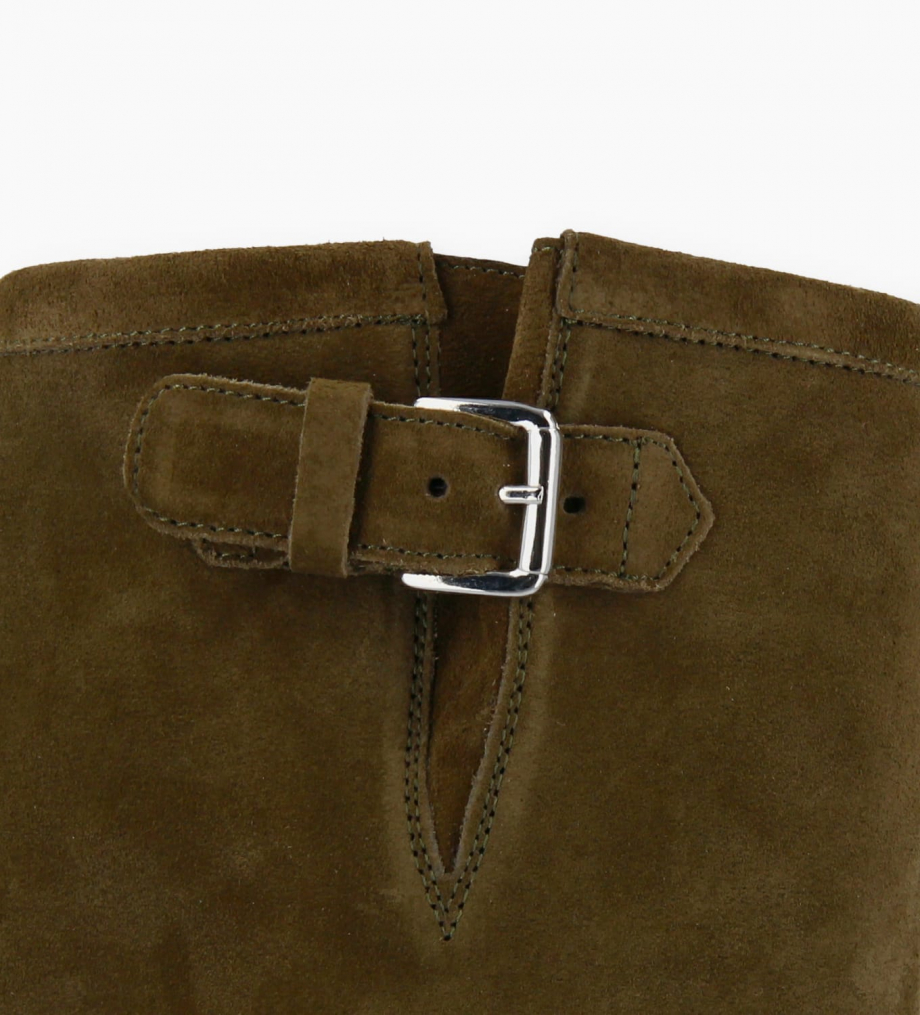 FREE LANCE Biker high boot with buckle BIKER 7 - Suede leather - Khaki