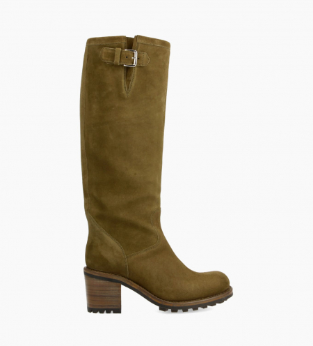 Biker high boot with buckle BIKER 7 - Suede leather - Khaki