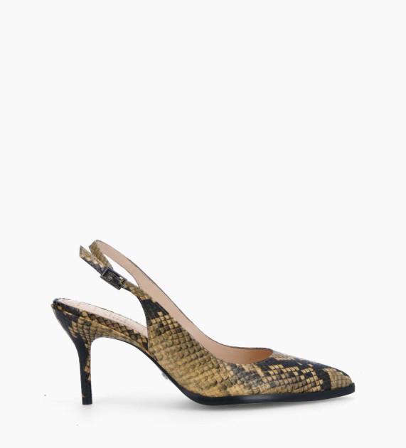 Sling-back pump with stiletto heel JAMIE 7 - Snake Print - Beige