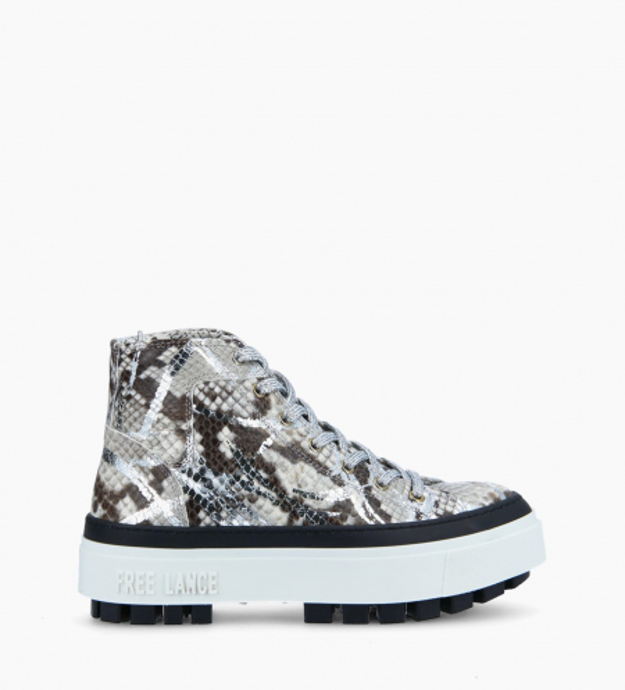 Sneaker haute NAKANO - Cuir imprimé python - Argent