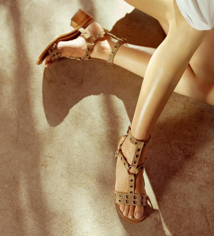 FREE LANCE Harness heeled sandal LENNIE 5 - Suede - Taupe