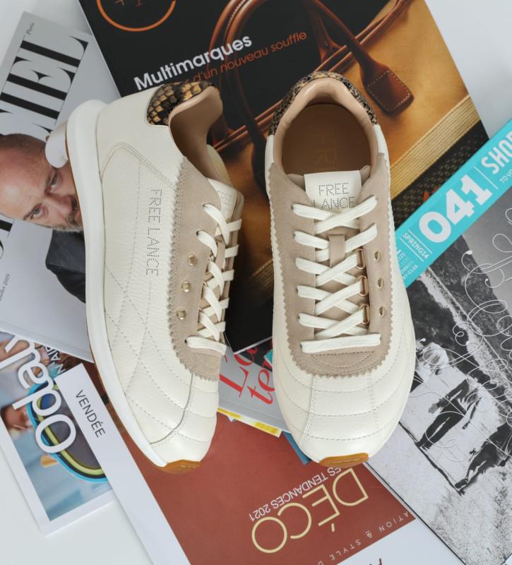 FREE LANCE Sneaker MAIVA - Cuir grainé/Cuir imprimé serpent - Blanc/Beige