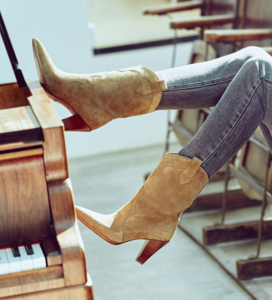 FREE LANCE Santiag heeled boot MARY 7 - Suede - Taupe