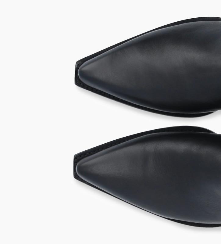 FREE LANCE Bottine western à double zip à talon métallisé LOU x CALAMITY 4 - Veau lisse mat - Noir/Argent