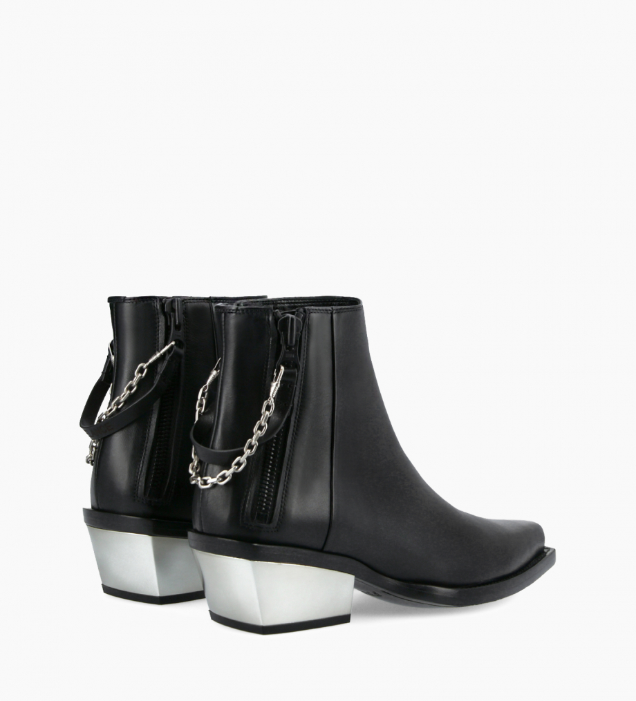 FREE LANCE Western ankle boot with double zip and metallic bevelled heel LOU x CALAMITY 4 - Matt smooth calf leather – Black/Silver
