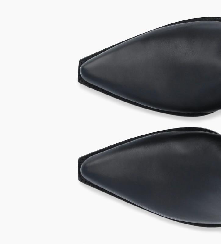 FREE LANCE Bottine western à double zip à talon métallisé LOU x CALAMITY 4 - Veau lisse mat - Noir/Or rose