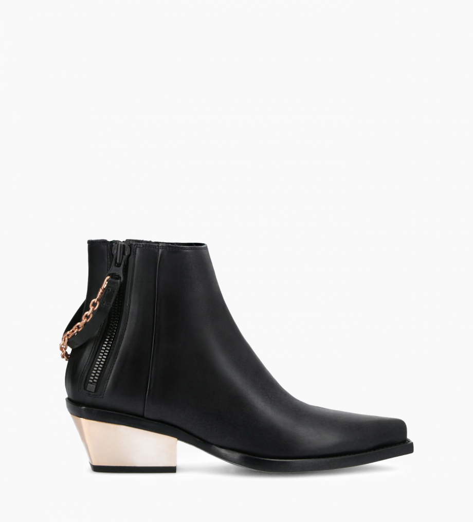 FREE LANCE Western ankle boot with double zip and metallic bevelled heel LOU x CALAMITY 4 - Matt smooth calf leather – Black/Rose gold