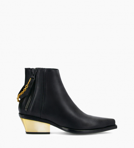 Western ankle boot with double zip and metallic bevelled heel LOU x CALAMITY 4 - Matt smooth calf leather – Black/Gold