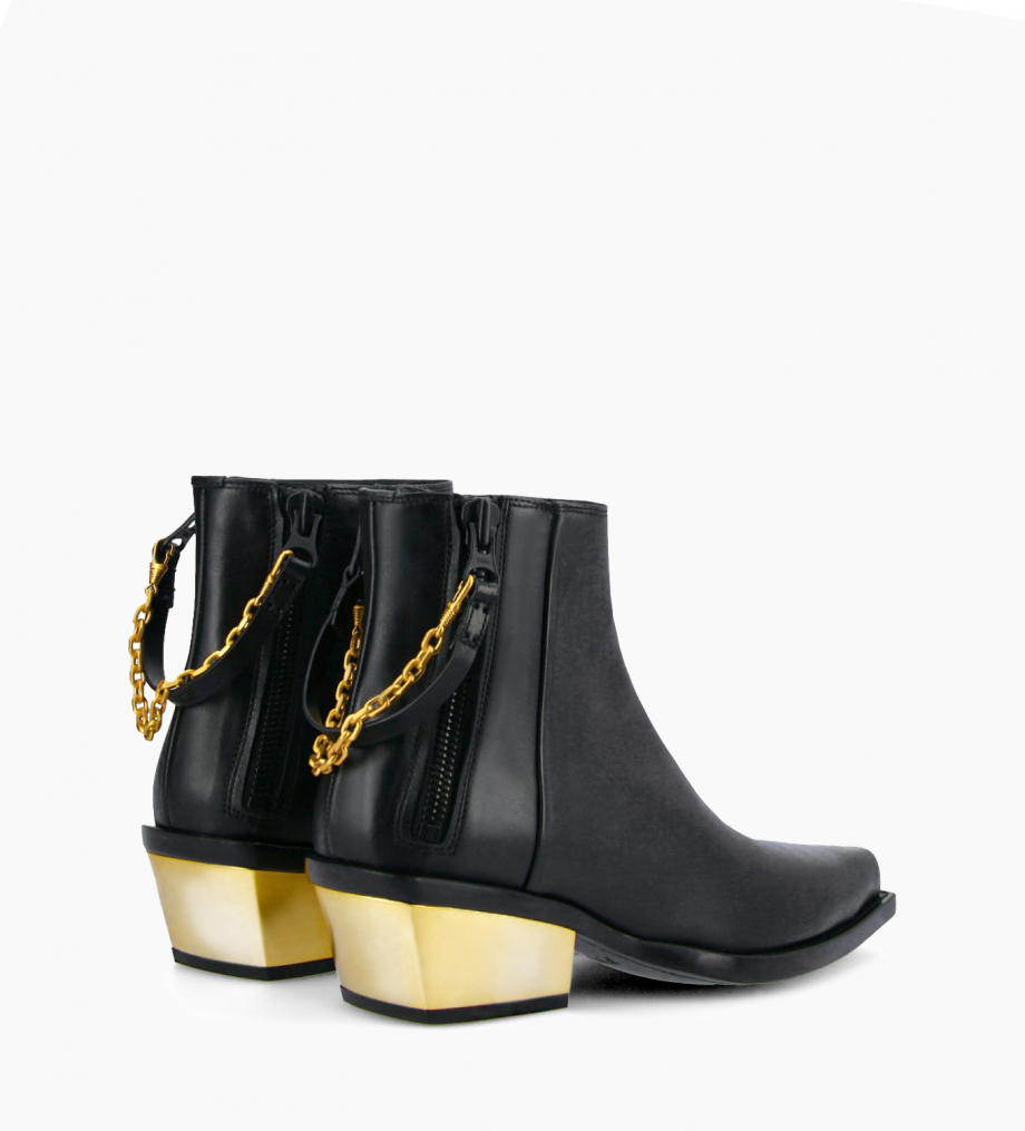 FREE LANCE Western ankle boot with double zip and metallic bevelled heel LOU x CALAMITY 4 - Matt smooth calf leather – Black/Gold