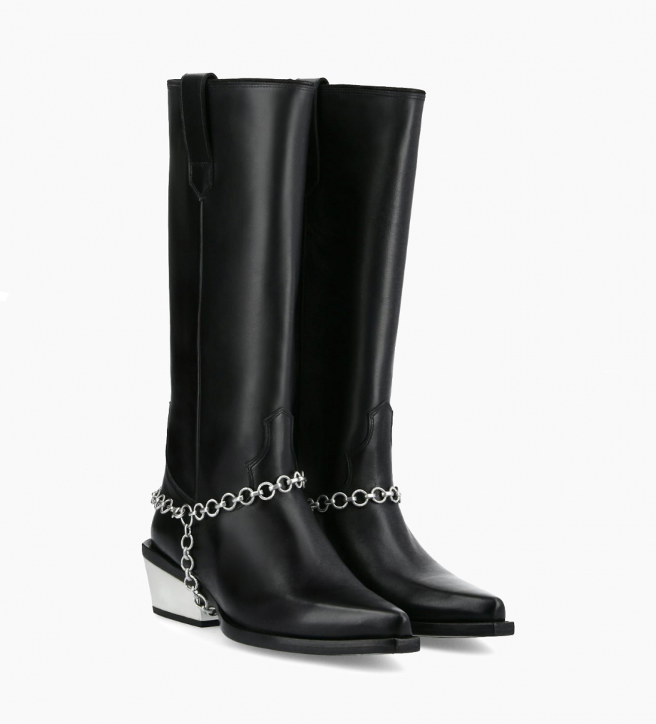 FREE LANCE Western high boot with metallic bevelled heel LOU x CALAMITY 4 - Matt smooth calf leather – Black/Silver