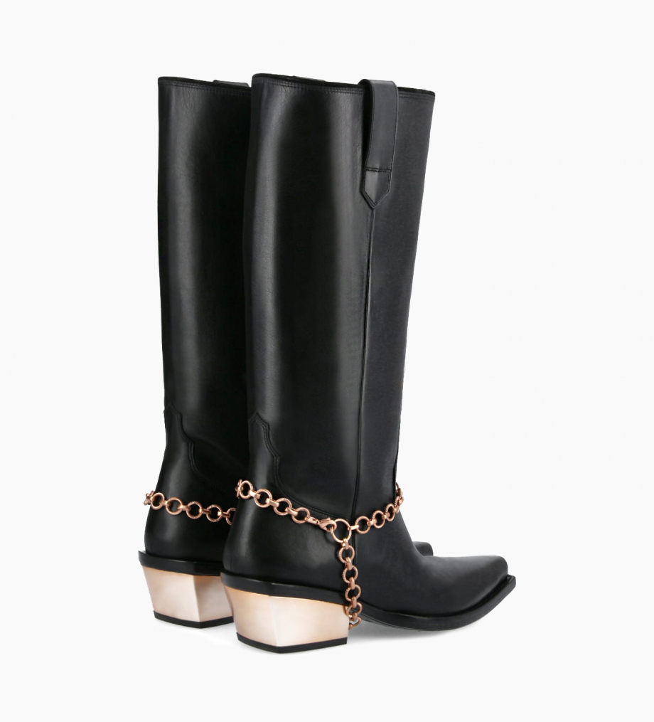 FREE LANCE Western high boot with metallic bevelled heel LOU x CALAMITY 4 - Matt smooth calf leather – Black/Rose gold