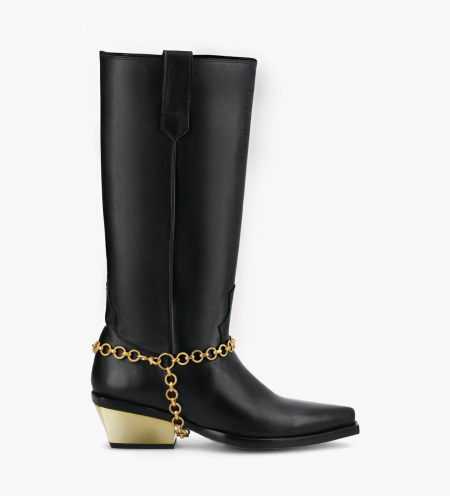 Western high boot with metallic bevelled heel LOU x CALAMITY 4 - Matt smooth calf leather – Black/Gold