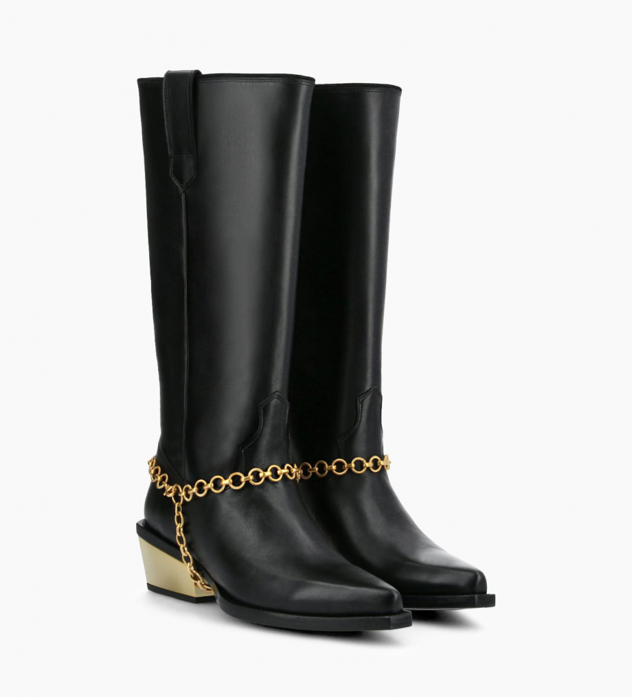 FREE LANCE Western high boot with metallic bevelled heel LOU x CALAMITY 4 - Matt smooth calf leather – Black/Gold