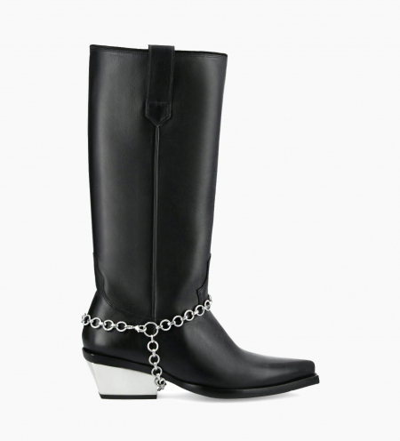 Western high boot with metallic bevelled heel LOU x CALAMITY 4 - Matt smooth calf leather – Black/Silver