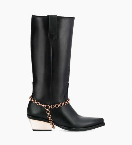 Western high boot with metallic bevelled heel LOU x CALAMITY 4 - Matt smooth calf leather – Black/Rose gold