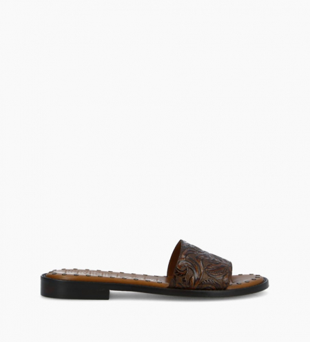 Flat sandal LENNIE - Embossed leather with floral motif - Brown