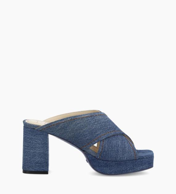 Plateform heeled mule JULIETTE 5 - Upcycled Denim - Blue