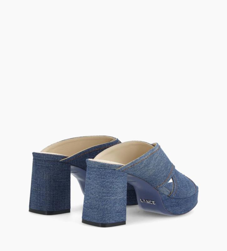FREE LANCE Plateform heeled mule JULIETTE 5 - Upcycled Denim - Blue