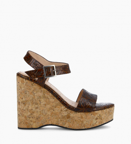Wedge sandal TINA - Embossed leather with floral motif - Brown
