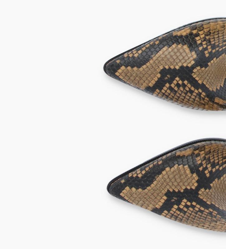 FREE LANCE Bottine zippée à talon aiguille JAMIE 7 - Cuir imprimé serpent - Beige