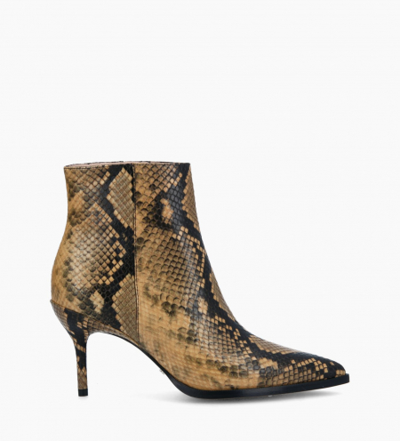Ankle boot with stiletto heel JAMIE 7 - Snake Print - Beige