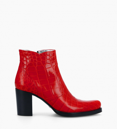 Ankle boot with block heel and zip PADDY 7 - Croco embossed leather - Red