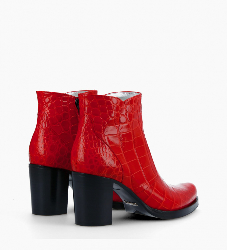 FREE LANCE Ankle boot with block heel and zip PADDY 7 - Croco embossed leather - Red