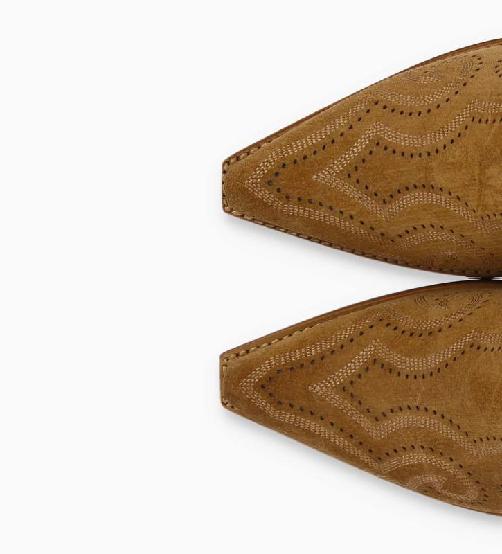 FREE LANCE Bottine western brodée à double zip CALAMITY 4 - Cuir velours - Marron