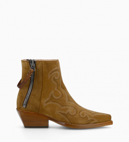 Embroidered western ankle boot with double zip CALAMITY 4 - Suede leather - Brown