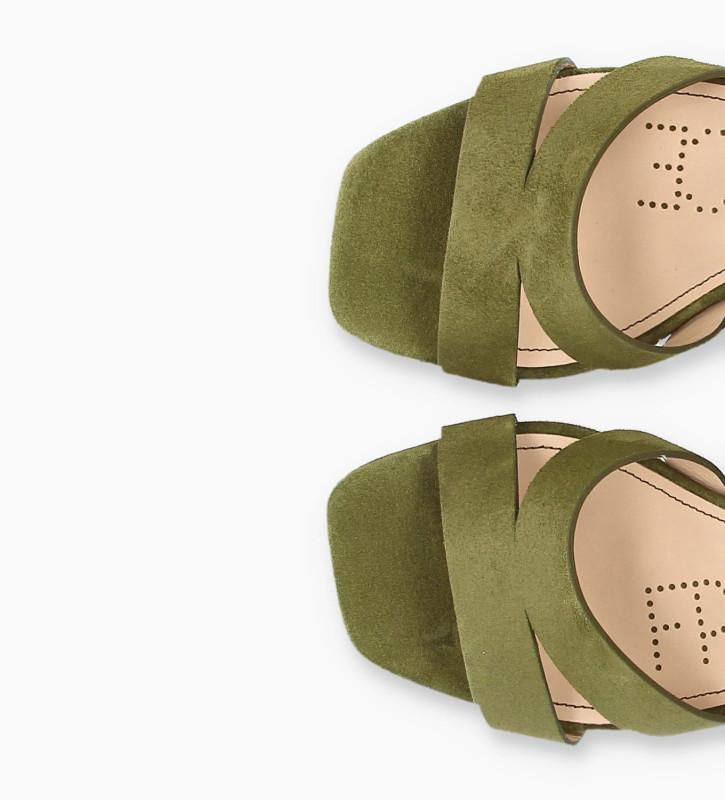 FREE LANCE Sandale à talon JULIETTE 5 - Cuir velours - Vert