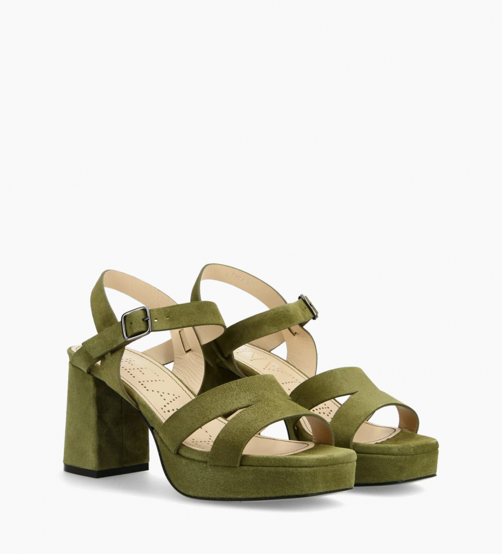 FREE LANCE Plateform heeled sandal JULIETTE 5 - Suede leather - Green