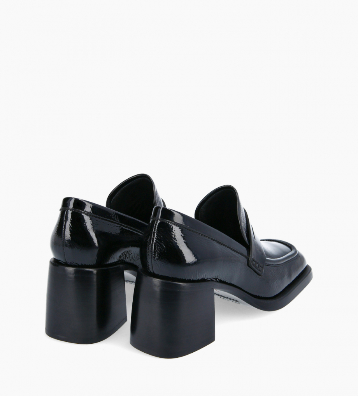 FREE LANCE Squared heeled loafer - Anaïs 70 - Naplak patent leather - Black