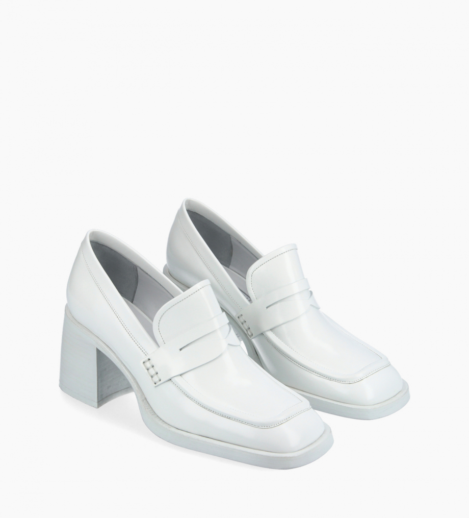 FREE LANCE Squared heeled loafer - Anaïs 70 - Glazed leather - White