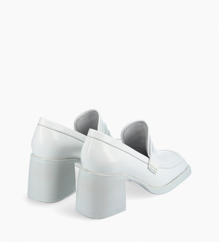 FREE LANCE Mocassin à talon à bout carré - Anaïs 70 - Cuir glacé - Blanc