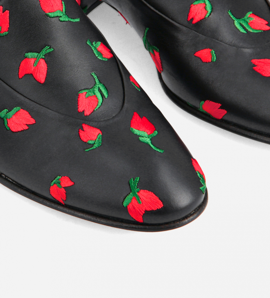 FREE LANCE Embroidered loafer - Ara 25 - Smooth calf leather - Black/Red
