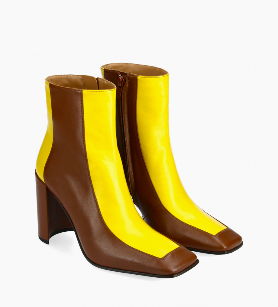 FREE LANCE Bi-color squared ankle boot - Bette 85 - Nappa lambskin leather - Dark brown/Yellow