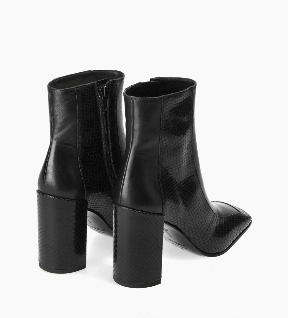 FREE LANCE Bi-material squared ankle boot - Bette 85 - Snake print leather/Nappa lambskin leather - Black