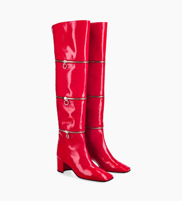 FREE LANCE Multi zip heeled high boot - Billi 50 - Naplak patent leather - Red