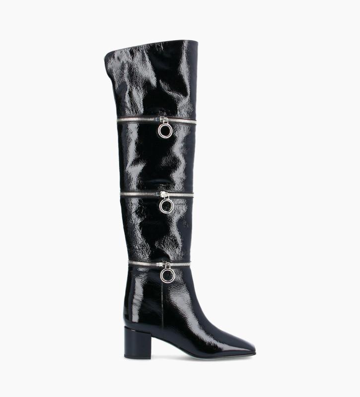 FREE LANCE Multi zip heeled high boot - Billi 50 - Naplak patent leather - Black