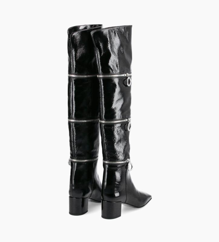 FREE LANCE Botte zippée réglable à talon - Billi 50 - Cuir vernis naplak - Noir