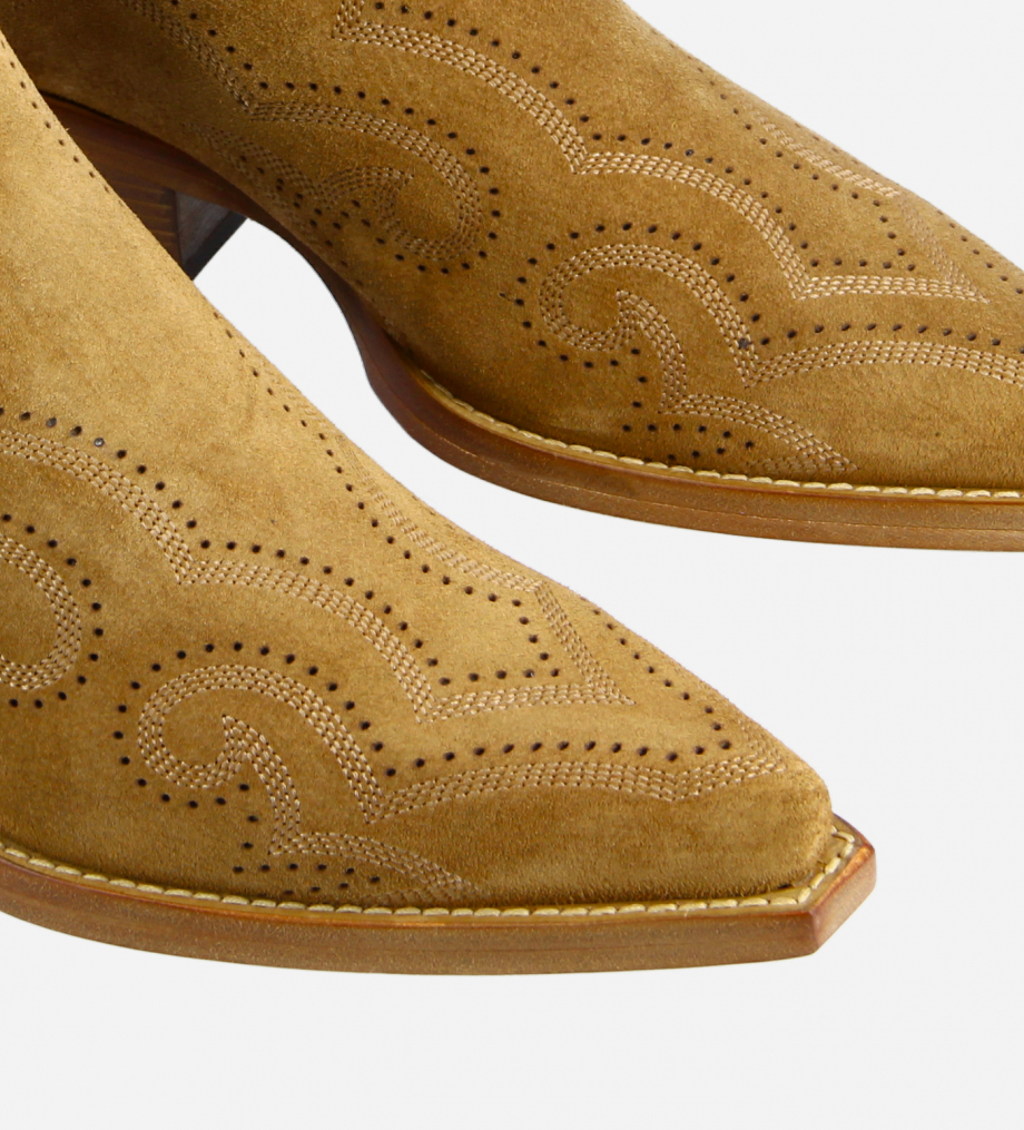 FREE LANCE Embroidered Western ankle boot with double zip - Calamity 4 - Suede leather - Brown