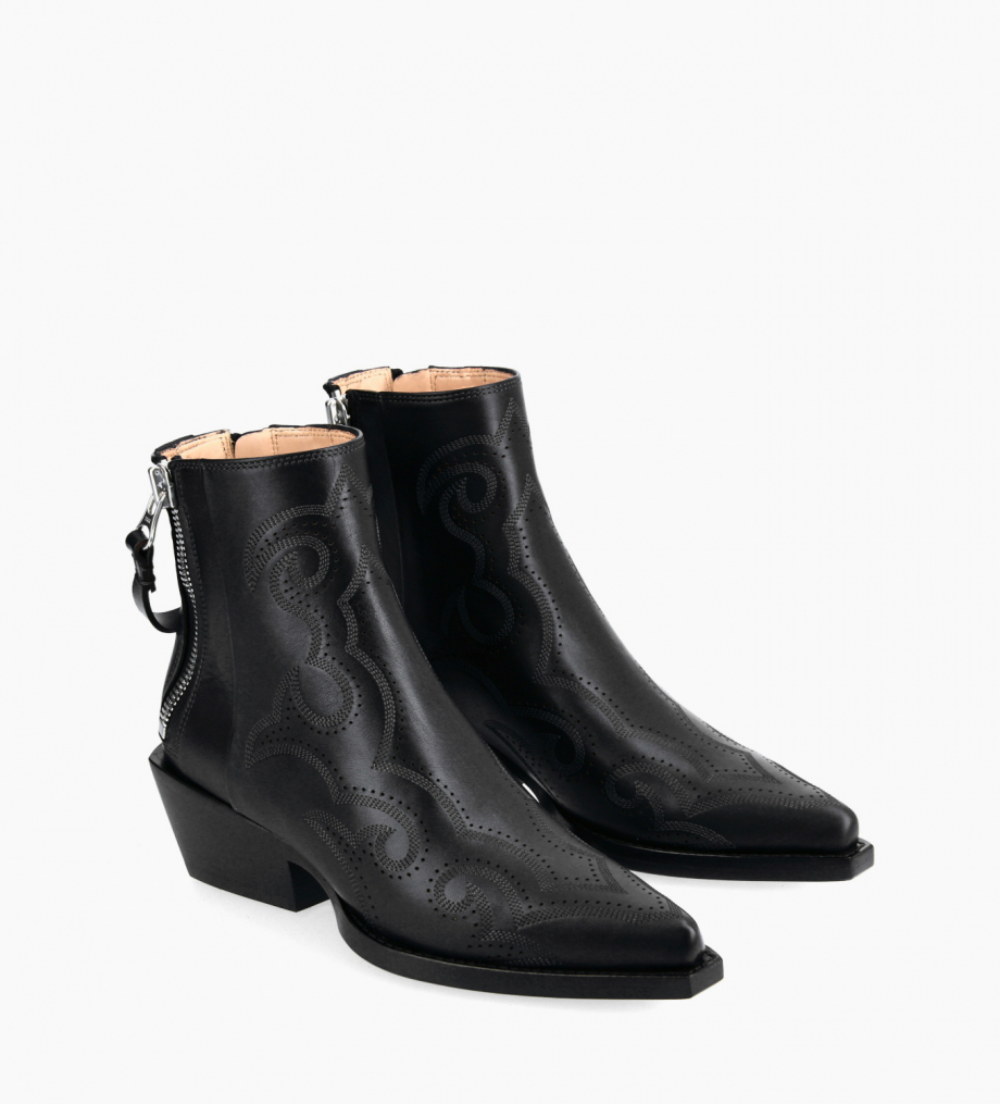 FREE LANCE Embroidered Western ankle boot with double zip - Calamity 4 - Matt smooth calf leather - Black