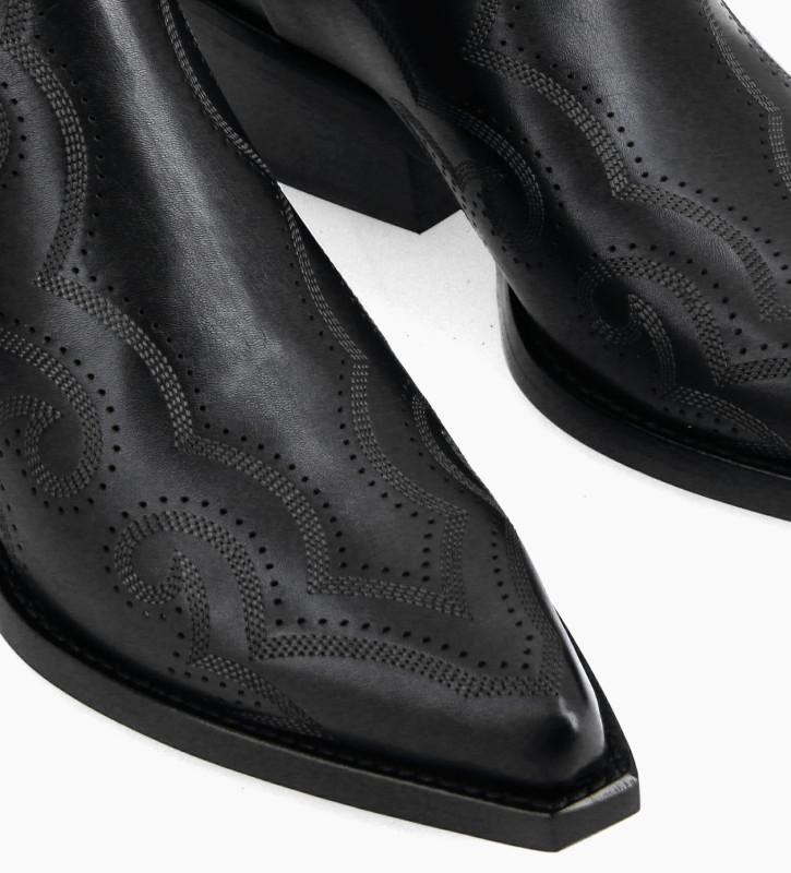 FREE LANCE Bottine Western brodée à double zip - Calamity 4 - Cuir de veau lisse mat - Noir