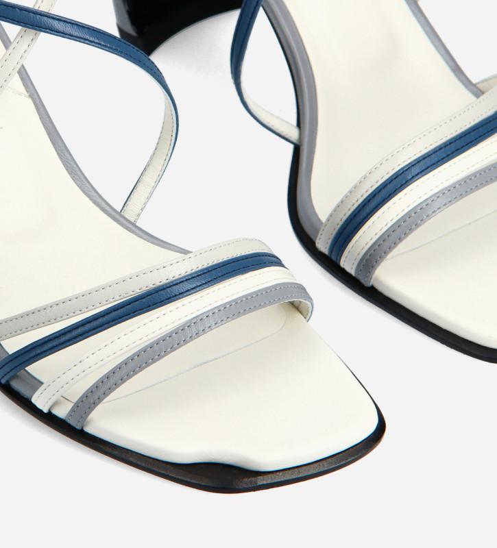 FREE LANCE Sandale à brides croisées à talon - Cambre 70 - Cuir nappa - Bleu ciel/Bleu foncé/Blanc