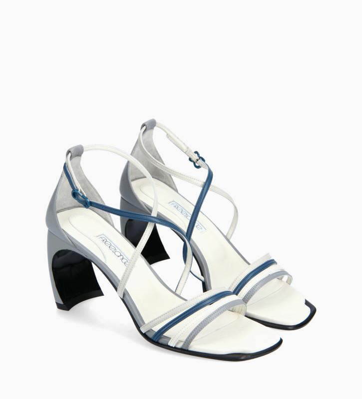 FREE LANCE Heeled cross-straps sandal - Cambre 70 - Nappa lambskin leather - Pale blue/Dark blue/White