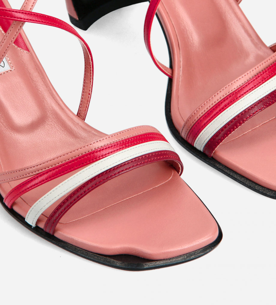 FREE LANCE Heeled cross-straps sandal - Cambre 70 - Nappa lambskin leather - Pink/Red/White